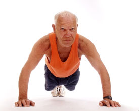 old man doing push up