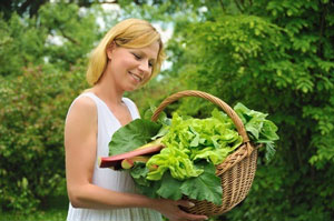 Woman with Green Vegetables