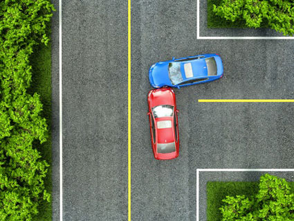 birds eye view of car accident